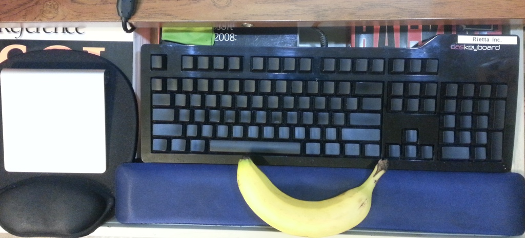 DAS Keyboard Ultimate with a Banana for Scale